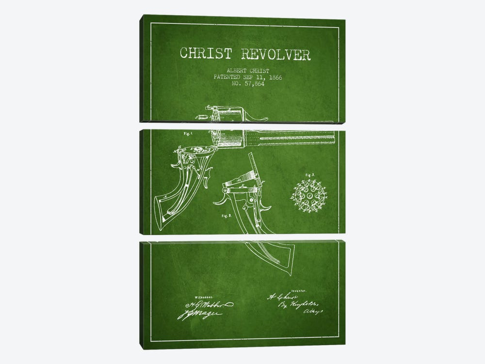 Christ Revolver Green Patent Blueprint by Aged Pixel 3-piece Canvas Artwork
