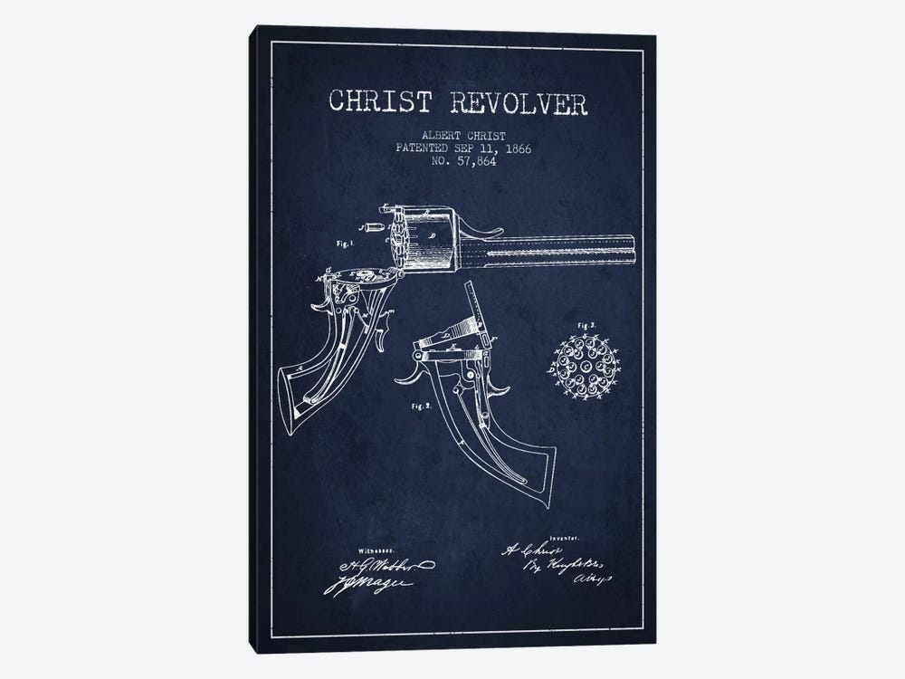 Christ Revolver Navy Blue Patent Blueprint by Aged Pixel 1-piece Canvas Print