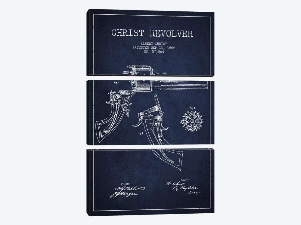 Christ Revolver Navy Blue Patent Blueprint by Aged Pixel 3-piece Art Print