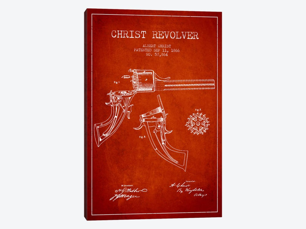 Christ Revolver Red Patent Blueprint by Aged Pixel 1-piece Canvas Artwork