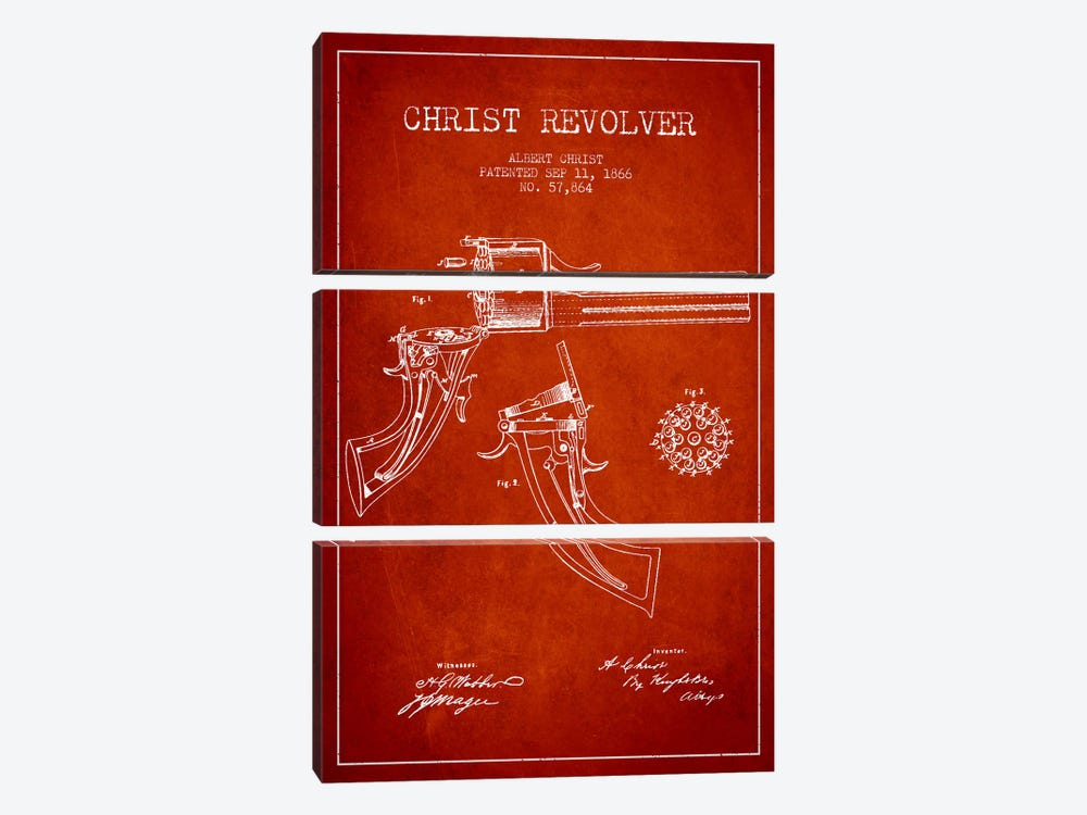 Christ Revolver Red Patent Blueprint by Aged Pixel 3-piece Canvas Wall Art
