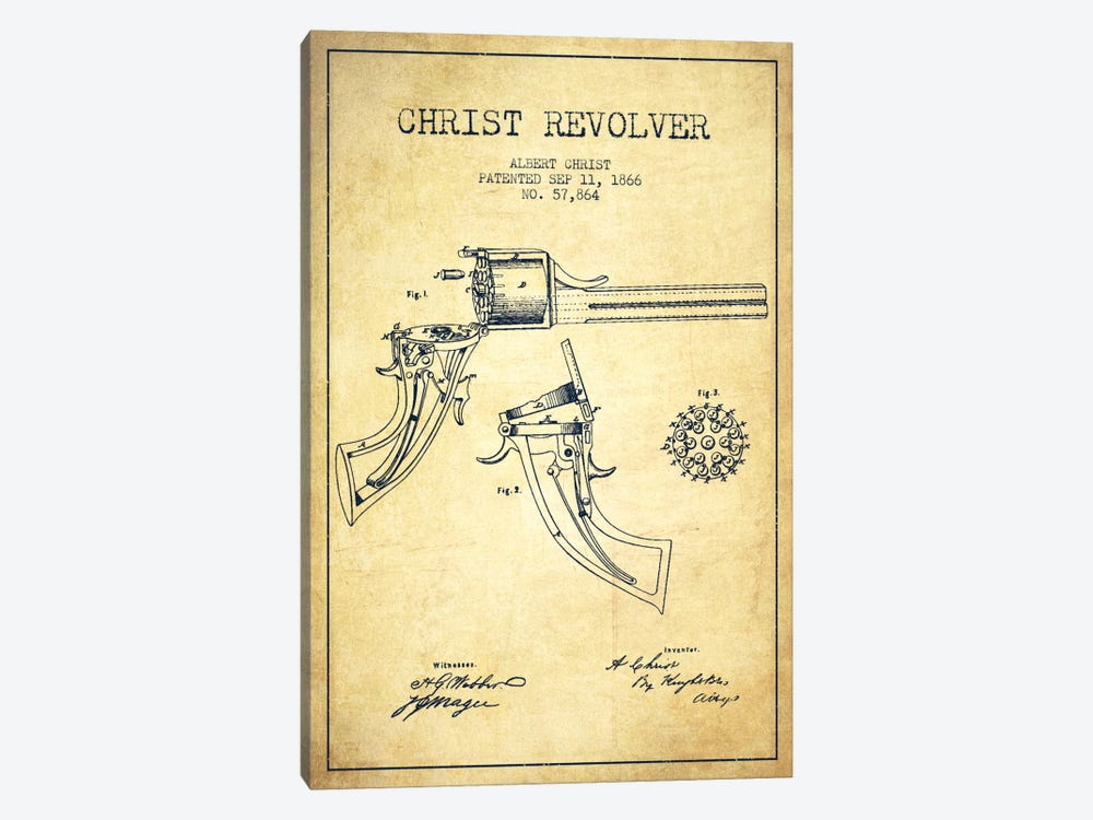 Christ Revolver Vintage Patent Blueprint 1-piece Canvas Print