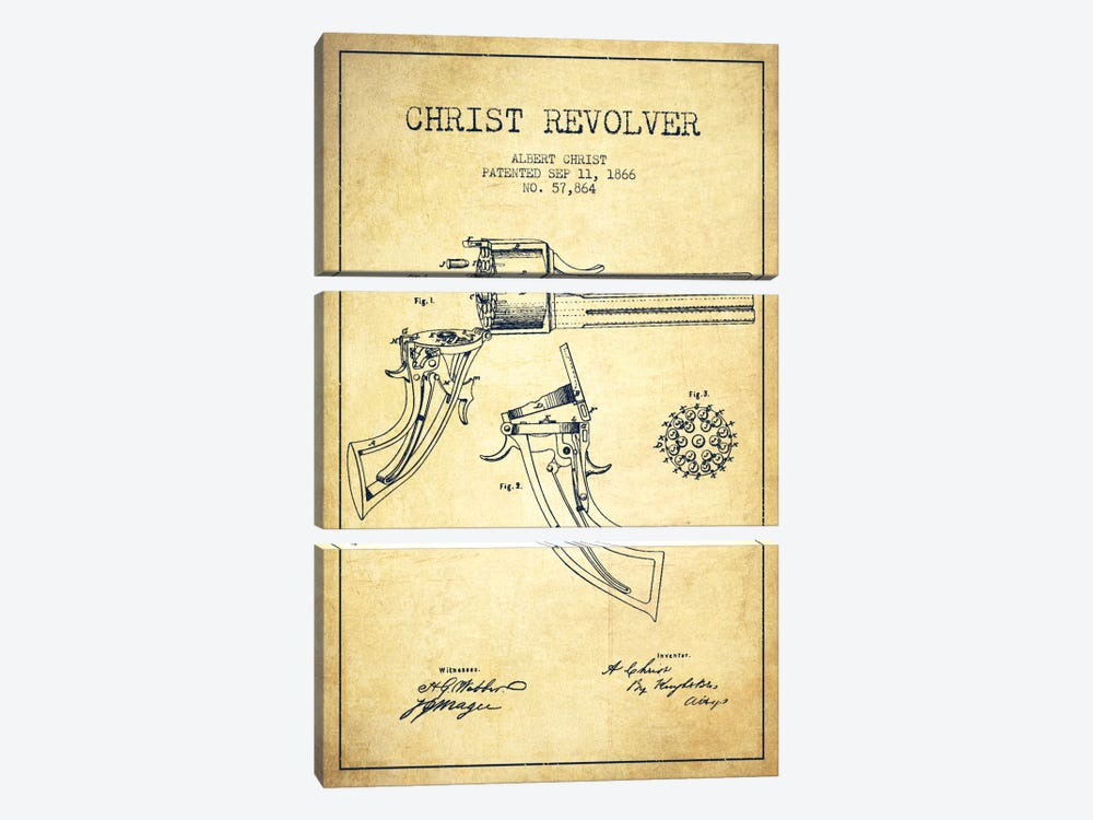 Christ Revolver Vintage Patent Blueprint 3-piece Art Print