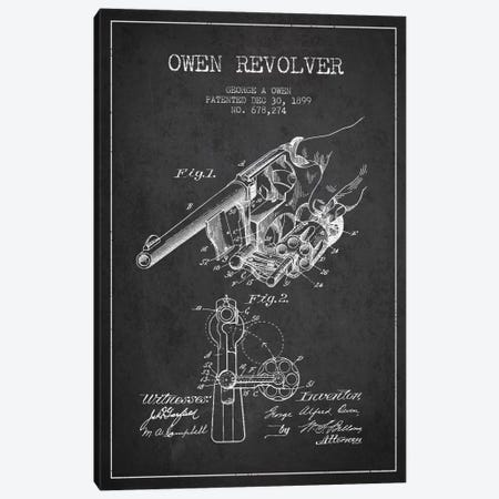 Owen Revolver Charcoal Patent Blueprint Canvas Print #ADP1344} by Aged Pixel Canvas Artwork
