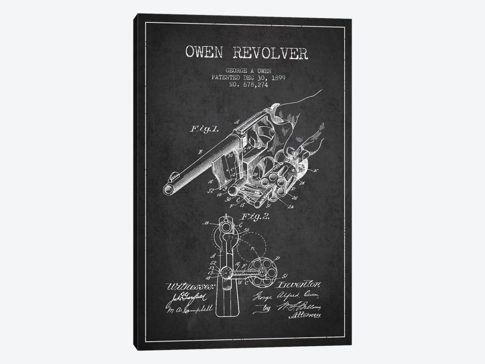 Owen Revolver Charcoal Patent Blueprint by Aged Pixel 1-piece Canvas Art