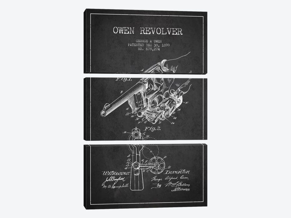 Owen Revolver Charcoal Patent Blueprint by Aged Pixel 3-piece Canvas Wall Art