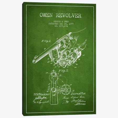 Owen Revolver Green Patent Blueprint Canvas Print #ADP1345} by Aged Pixel Canvas Artwork