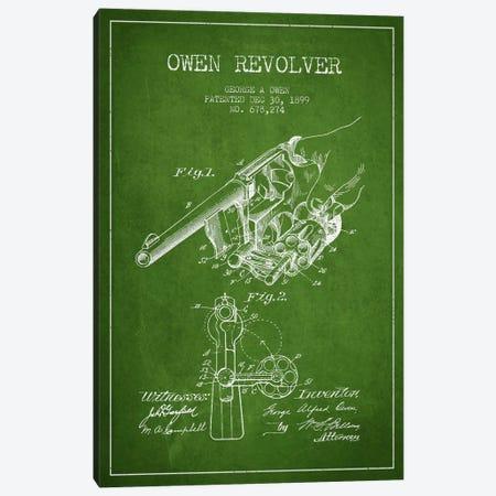 Owen Revolver Green Patent Blueprint Canvas Print #ADP1345} by Aged Pixel Canvas Artwork