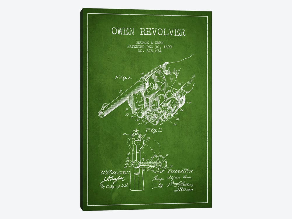 Owen Revolver Green Patent Blueprint by Aged Pixel 1-piece Canvas Art Print