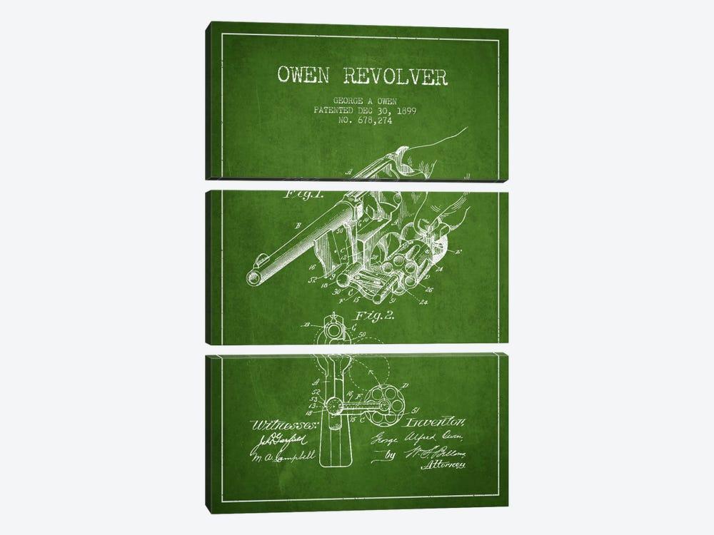 Owen Revolver Green Patent Blueprint by Aged Pixel 3-piece Canvas Print