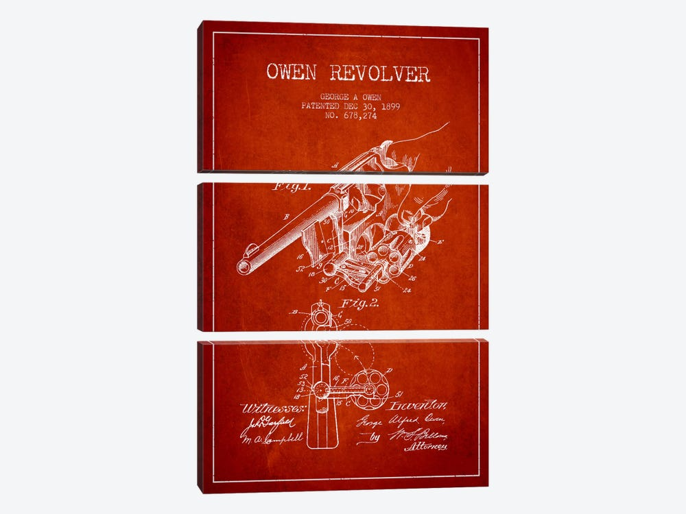 Owen Revolver Red Patent Blueprint by Aged Pixel 3-piece Canvas Print