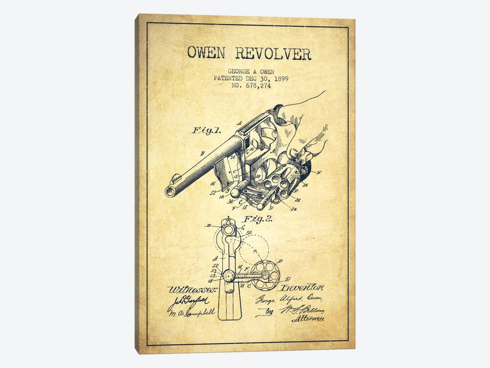 Owen Revolver Vintage Patent Blueprint by Aged Pixel 1-piece Canvas Artwork