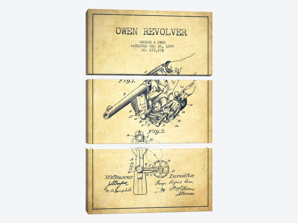 Owen Revolver Vintage Patent Blueprint by Aged Pixel 3-piece Canvas Art