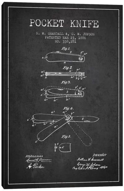 Pocket Knife Charcoal Patent Blueprint Canvas Print #ADP1349