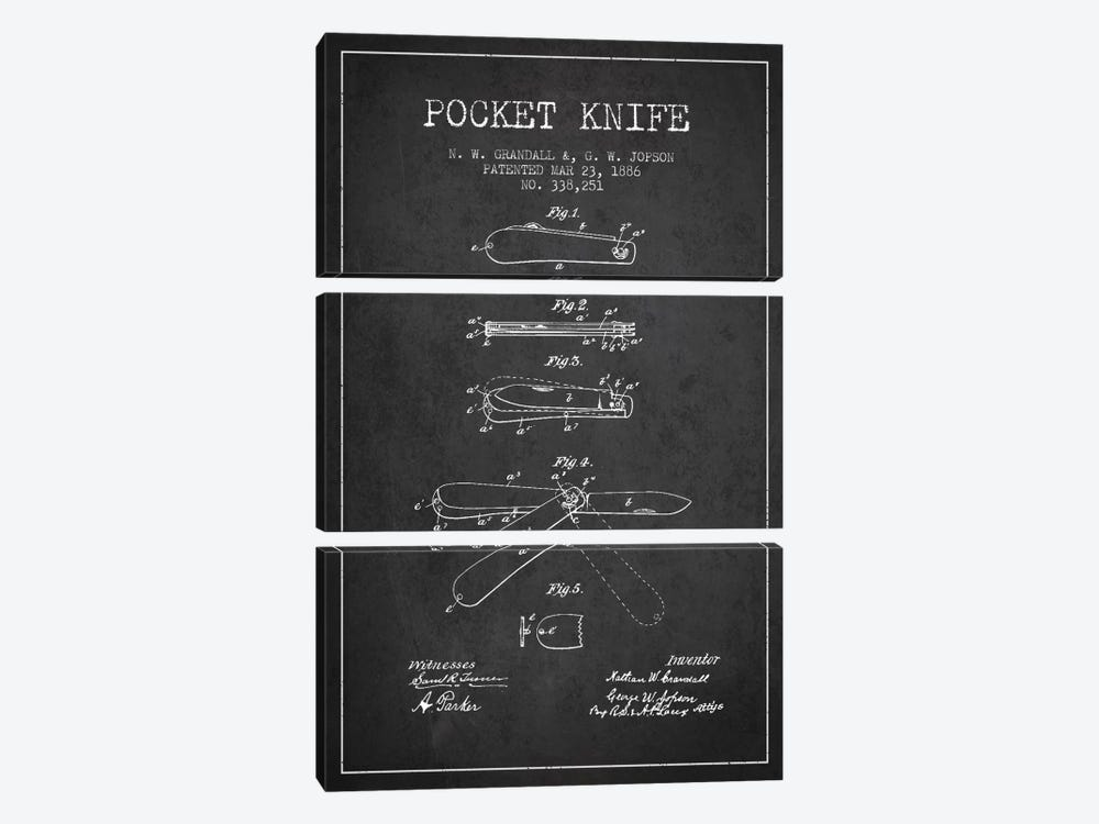 Pocket Knife Charcoal Patent Blueprint 3-piece Canvas Print