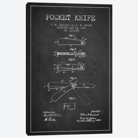 Pocket Knife Charcoal Patent Blueprint Canvas Print #ADP1349} by Aged Pixel Art Print