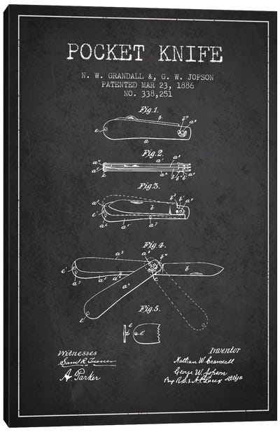 Pocket Knife Charcoal Patent Blueprint Canvas Art Print