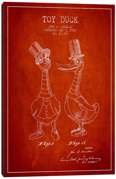 Male Duck Red Patent Blueprint Canvas Art Print