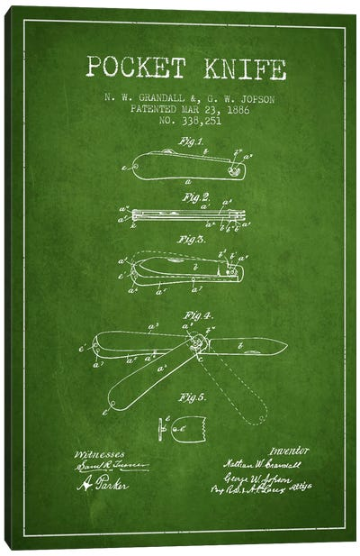 Pocket Knife Green Patent Blueprint Canvas Art Print