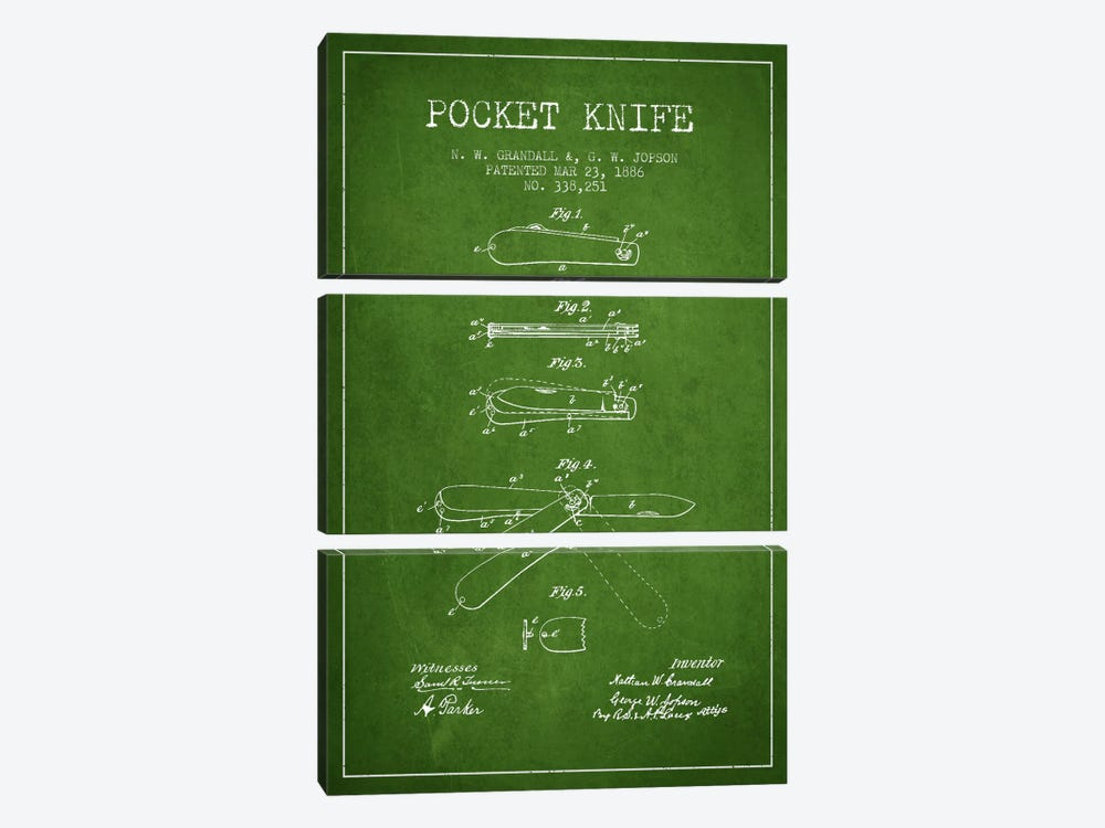 Pocket Knife Green Patent Blueprint by Aged Pixel 3-piece Canvas Art Print