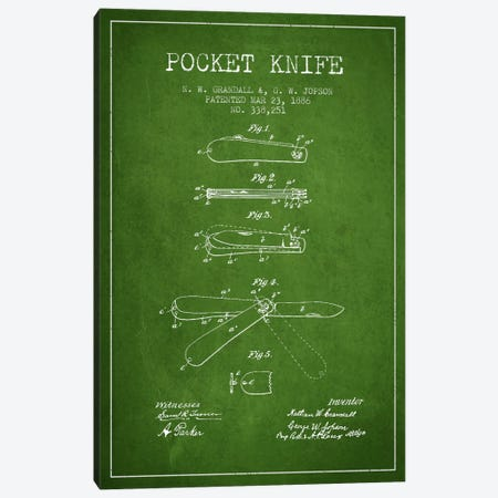 Pocket Knife Green Patent Blueprint Canvas Print #ADP1350} by Aged Pixel Canvas Wall Art