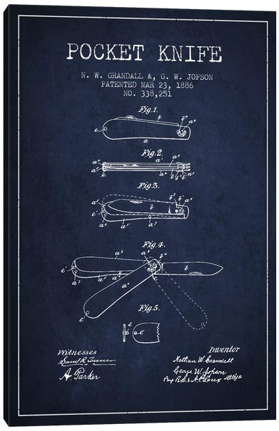 Pocket Knife Navy Blue Patent Blueprint Canvas Art Print
