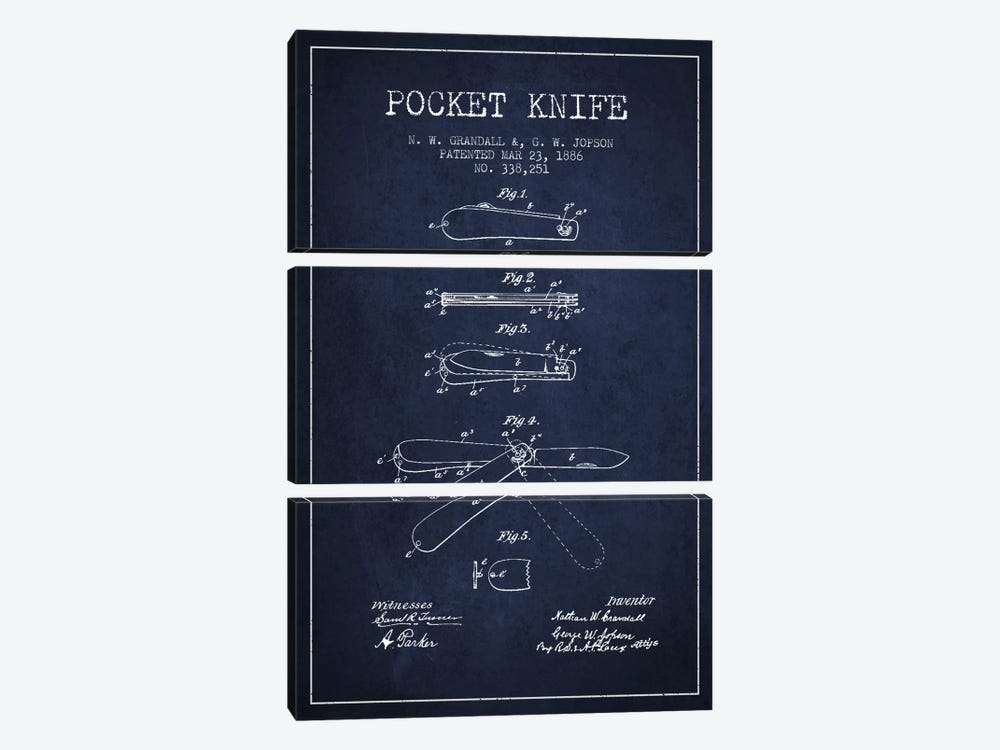 Pocket Knife Navy Blue Patent Blueprint by Aged Pixel 3-piece Canvas Artwork