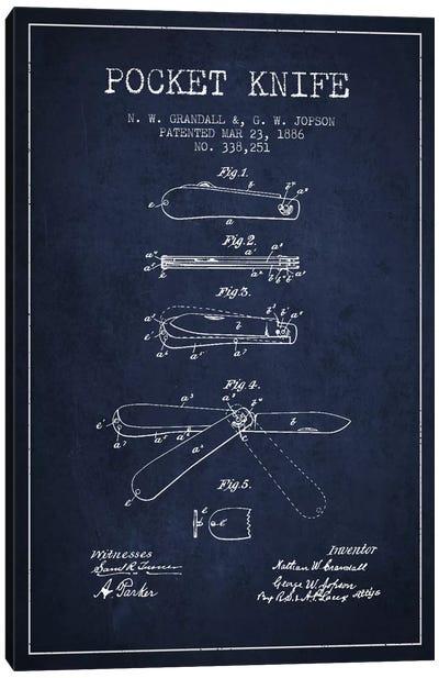 Pocket Knife Navy Blue Patent Blueprint Canvas Art Print