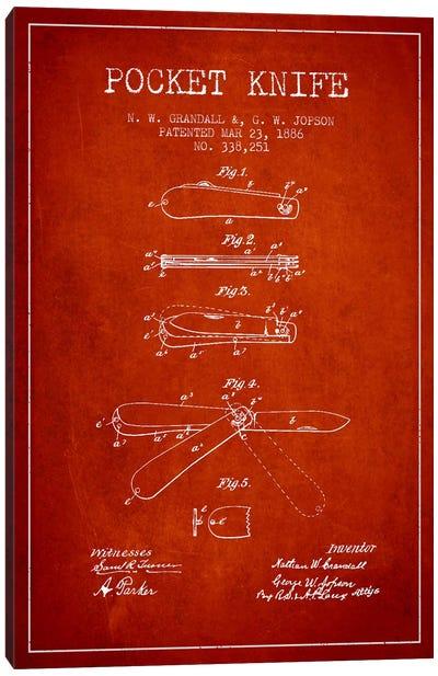 Pocket Knife Red Patent Blueprint Canvas Print #ADP1352