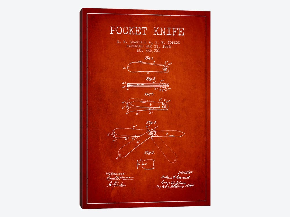 Pocket Knife Red Patent Blueprint by Aged Pixel 1-piece Canvas Print