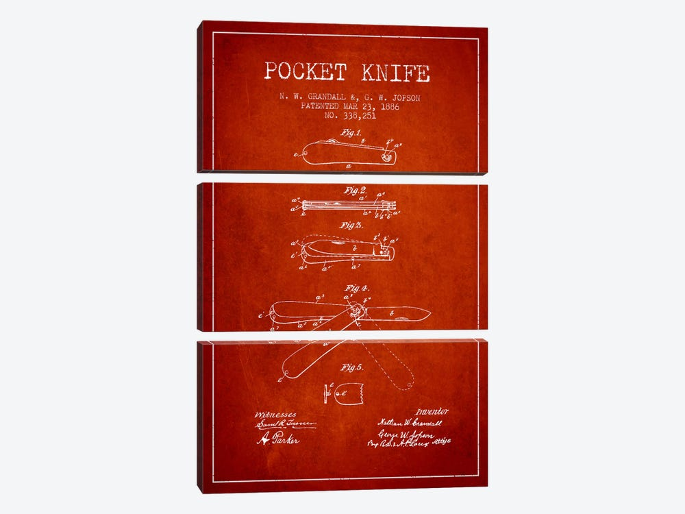 Pocket Knife Red Patent Blueprint by Aged Pixel 3-piece Canvas Print