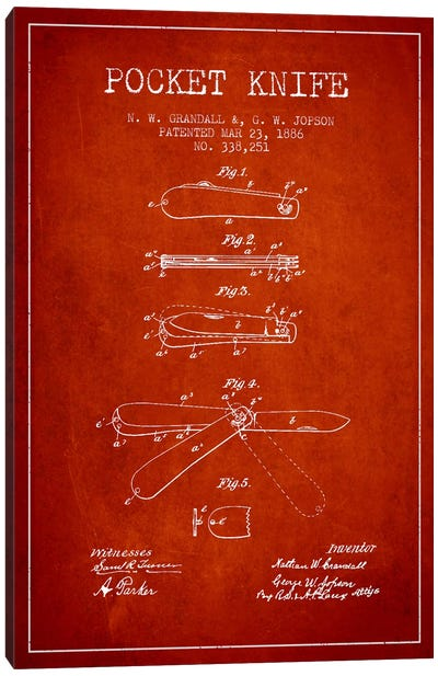Pocket Knife Red Patent Blueprint Canvas Art Print
