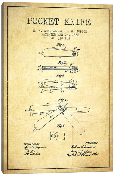 Pocket Knife Vintage Patent Blueprint Canvas Print #ADP1353
