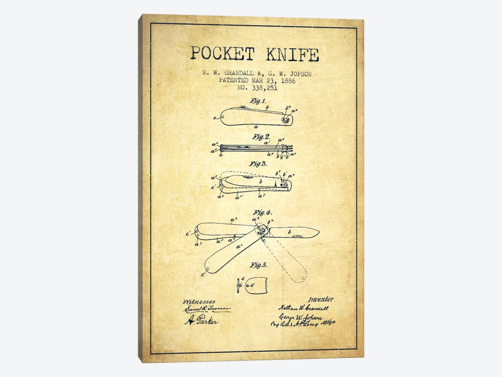 Pocket Knife Vintage Patent Blueprint by Aged Pixel 1-piece Canvas Artwork