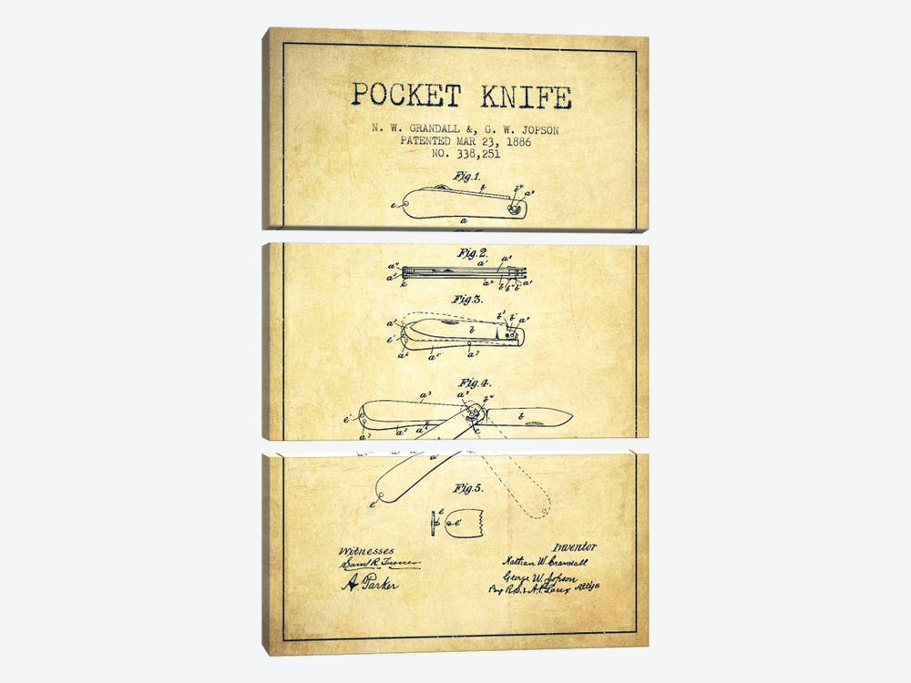 Pocket Knife Vintage Patent Blueprint by Aged Pixel 3-piece Canvas Artwork