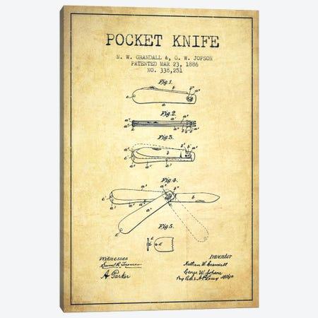 Pocket Knife Vintage Patent Blueprint Canvas Print #ADP1353} by Aged Pixel Canvas Art