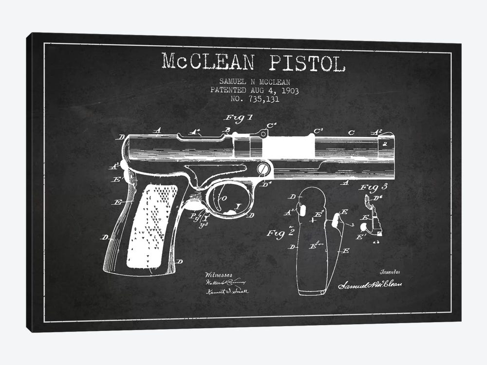 McClean Pistol Charcoal Patent Blueprint by Aged Pixel 1-piece Canvas Art Print