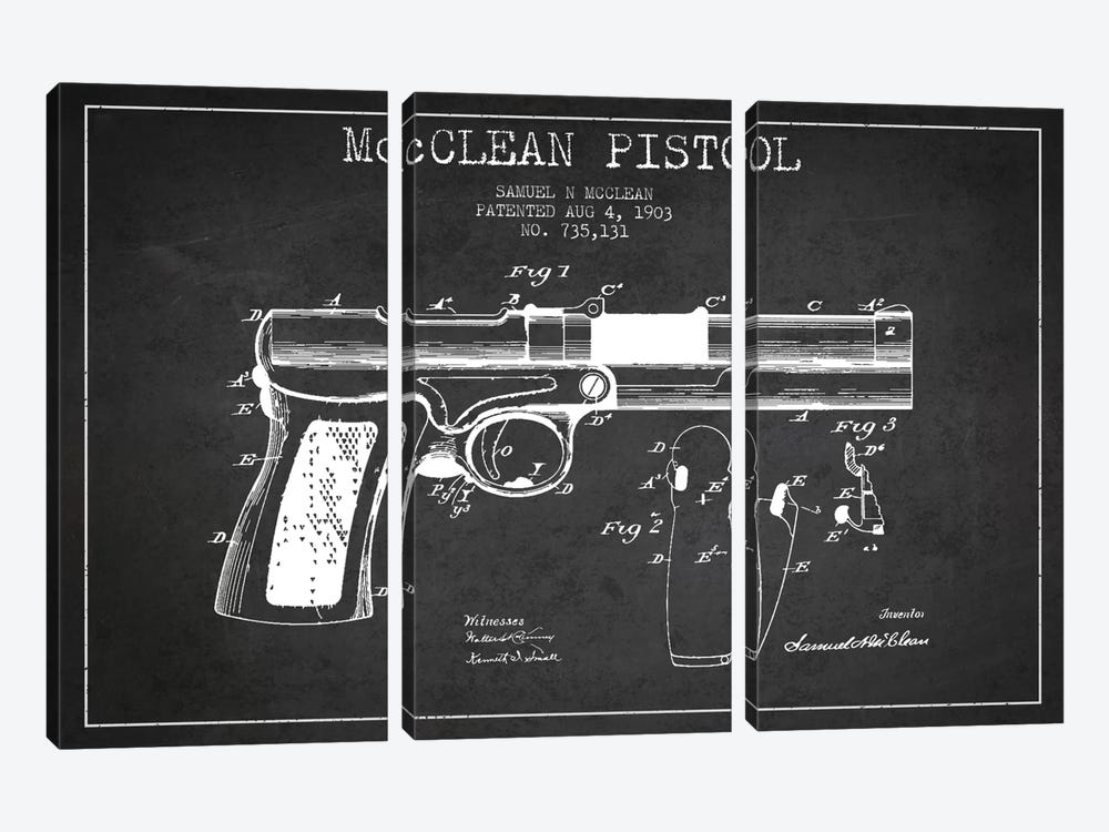 McClean Pistol Charcoal Patent Blueprint by Aged Pixel 3-piece Canvas Print