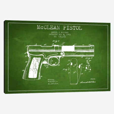 McClean Pistol Green Patent Blueprint Canvas Print #ADP1355} by Aged Pixel Art Print