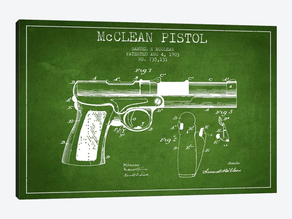 Mcclean Pistol Green Patent Blueprint by Aged Pixel 1-piece Canvas Art