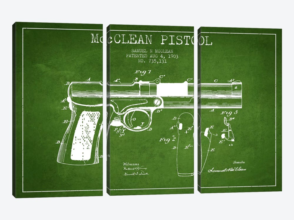 Mcclean Pistol Green Patent Blueprint by Aged Pixel 3-piece Canvas Art