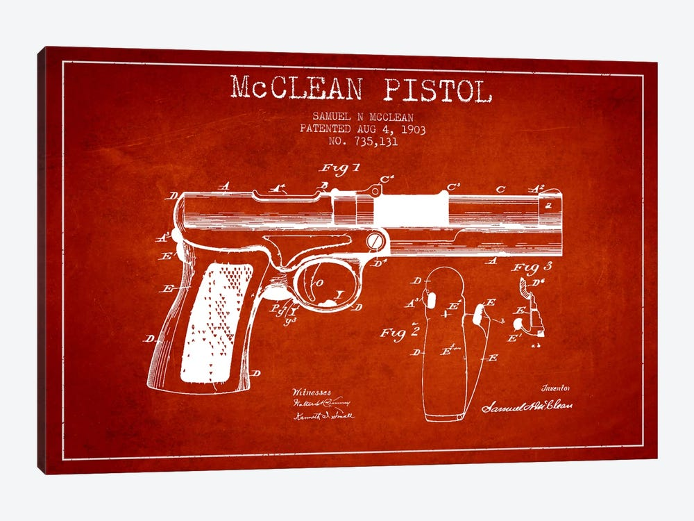McClean Pistol Red Patent Blueprint by Aged Pixel 1-piece Canvas Wall Art