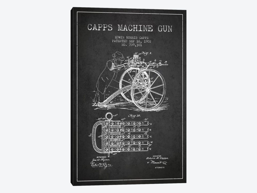Capps Cha Gun Charcoal Patent Blueprint by Aged Pixel 1-piece Canvas Artwork