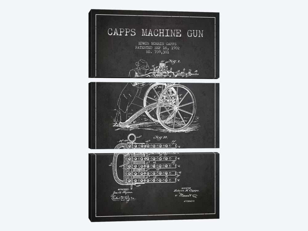 Capps Cha Gun Charcoal Patent Blueprint by Aged Pixel 3-piece Canvas Wall Art