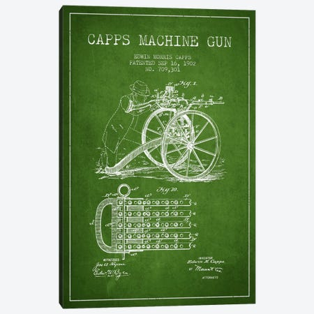 Capps Machine Gun Green Patent Blueprint Canvas Print #ADP1360} by Aged Pixel Canvas Print