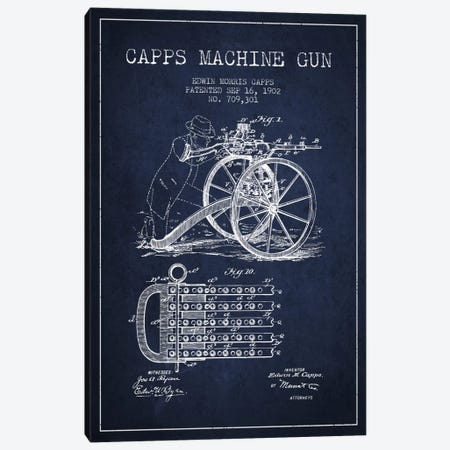 Capps Machine Gun Navy Blue Patent Blueprint Canvas Print #ADP1361} by Aged Pixel Canvas Art Print