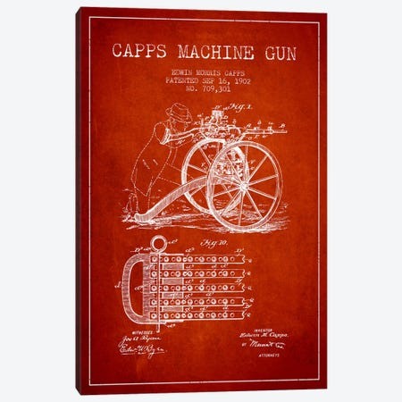 Capps Machine Gun Red Patent Blueprint Canvas Print #ADP1362} by Aged Pixel Canvas Print
