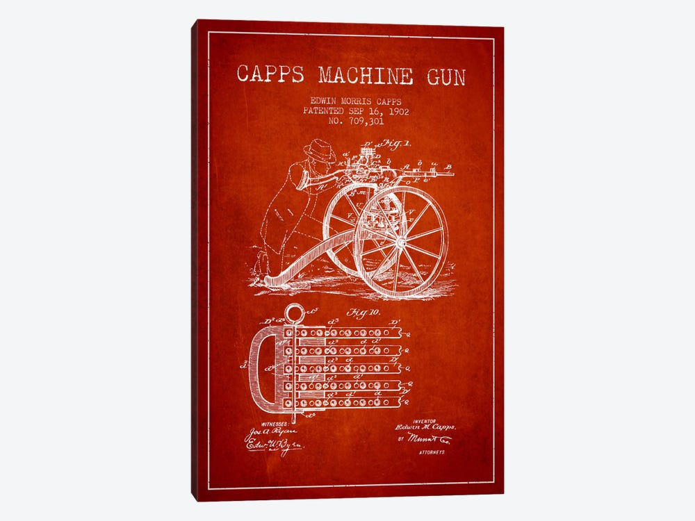 Capps Machine Gun Red Patent Blueprint by Aged Pixel 1-piece Canvas Art