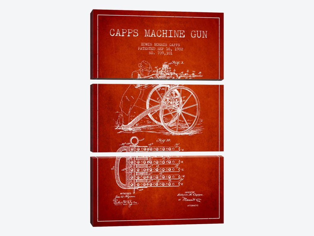 Capps Machine Gun Red Patent Blueprint by Aged Pixel 3-piece Canvas Wall Art
