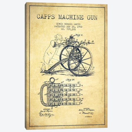 Capps Machine Gun Vintage Patent Blueprint Canvas Print #ADP1363} by Aged Pixel Canvas Print